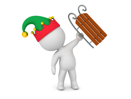 ski slope: 3D character with elf hat holding up a small sled. Isolated on white background. Stock Photo