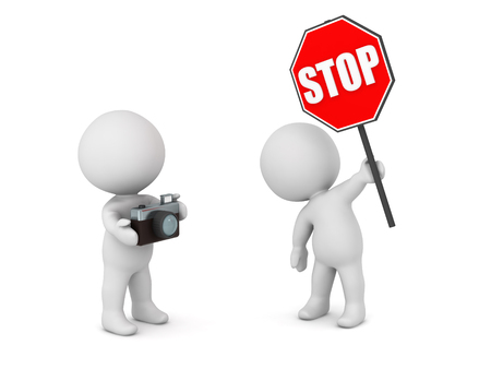 interrupt: 3D character with stop sign and character with a photo camera. Isolated on white background.