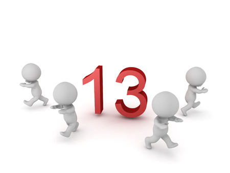 tough luck: 3D characters running away from the number 13. Isolated on white background. Stock Photo