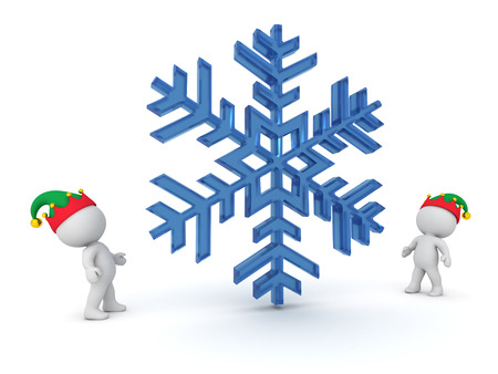 precipitation: 3D characters with elf hats looking up at a large snowflake. Isolated on white background. Stock Photo