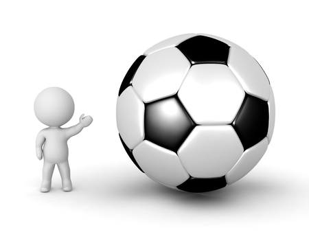 3d character: 3D character showing a large football. Isolated on white background.