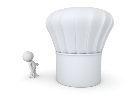 grub: Small 3D character looking up at a large chef hat. Isolated on white background.