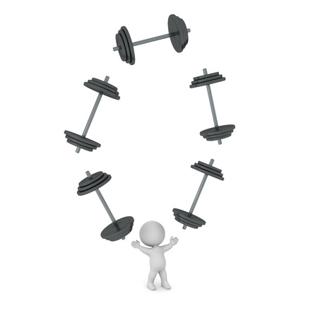 man working out: 3D character is juggling large dumbbell weights. Isolated on white background.