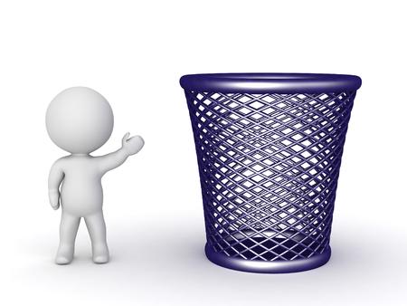 cesto basura: carácter 3D que muestra un gran cesto de basura vacío. Aislado en el fondo blanco. Foto de archivo