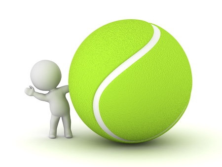 playoff: 3D character waving from behind a large tennis ball. Isolated on white background.