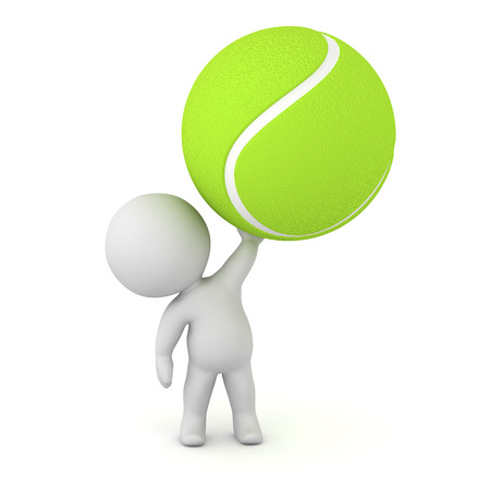deuce: 3D character holding up a large tennis ball. Isolated on white background.