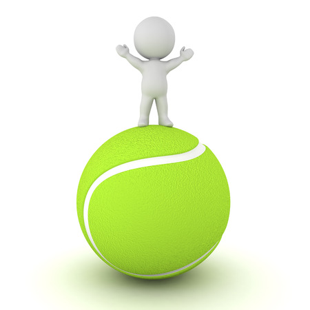 playoff: 3D character standing with arms raised on a large tennis ball. Isolated on white background. Stock Photo