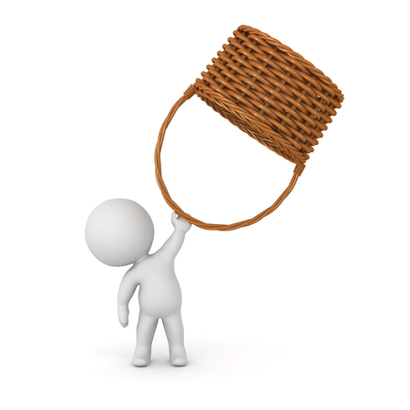 3D character holding up a large wicker weaved basket. Isolated on white background. Stock Photo