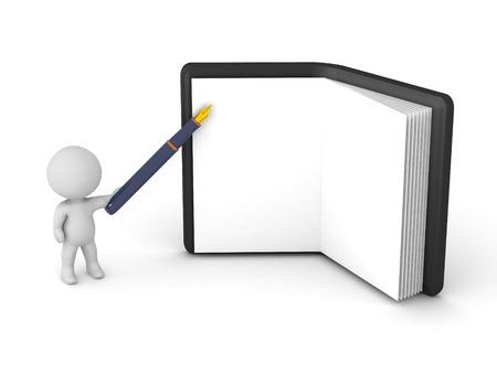 Personaje 3D con una gran pluma estilográfica y una gran libreta abierta. Aislado en el fondo blanco. Foto de archivo - 60981849