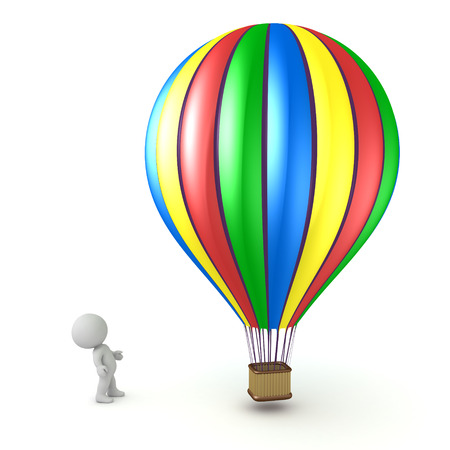 Small 3D character looking up at a large colorful hot air balloon. Isolated on white background. Stock Photo