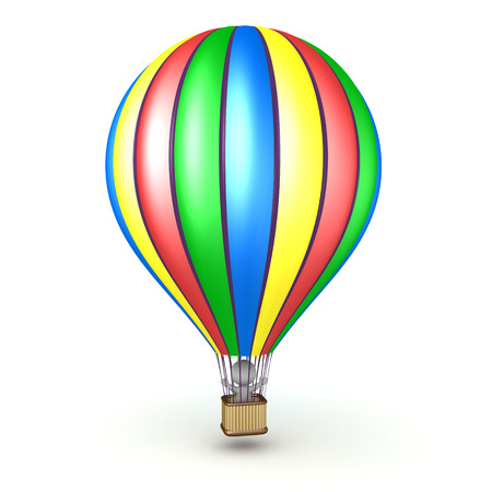 3D character riding in a colorful hot air balloon. Isolated on white background. Stock Photo