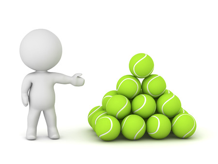 deuce: 3D character showing a neat pile of tennis balls. Isolated on white background. Stock Photo
