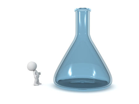 small people: 3D character looking up at a large laboratory flask. Isolated on white background. Stock Photo