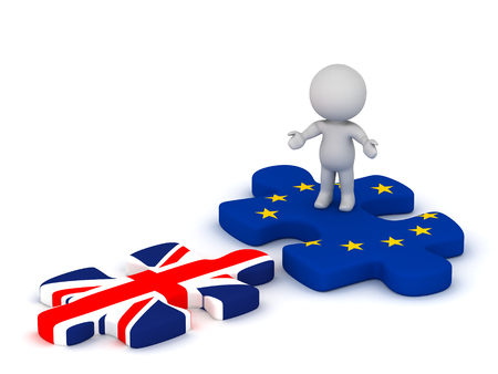detach: 3D character with open arms standing on an EU European Union puzzle piece looking at a British flag Union Jack puzzle piece. Isolated on white background. Stock Photo