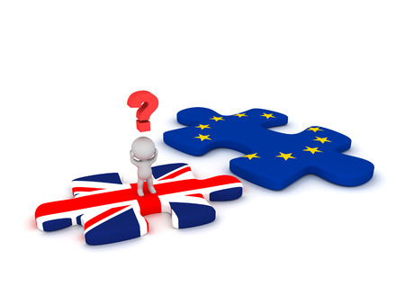 england politics: 3D character with a question symbol standing on a British flag puzzle piece, next to a EU puzzle piece. Isolated on white background.
