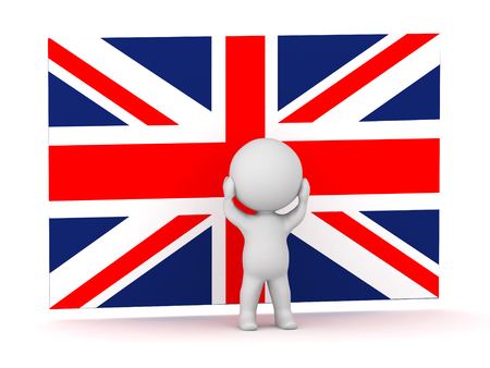 detach: 3D character is stressed standing in front of a British Flag Union Jack. Isolated on white background.