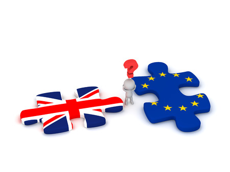 detach: 3D character with a question symbol and two puzzle pieces with the British Flag Union Jack and the EU European Union Flag. Isolated on white background.