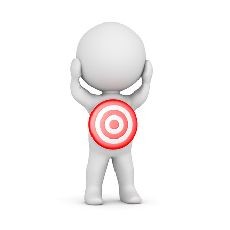 3D character with a red bulls eye target on him. Isolated on white background.