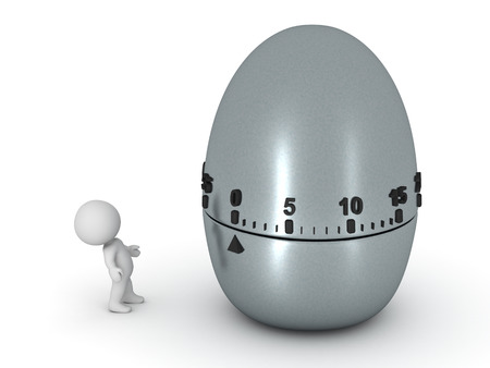 big timer: Small 3D character and a large egg timer. Isolated on white background.