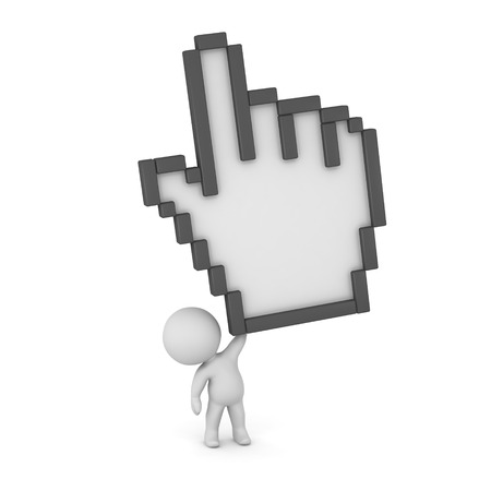 click with hand: Small 3D character holding up a very large click hand cursor. Isolated on white background.