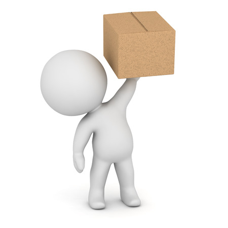 A 3D character holding up a cardboard box. Isolated on white background.