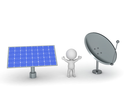 kilowatt: 3D character with a large solar panel and a large parabolic dish antenna. Isolated on white background. Stock Photo