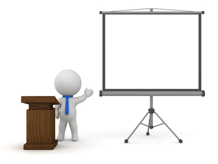 projector screen: 3D character with a lectern and a projector screen. Isolated on white background.