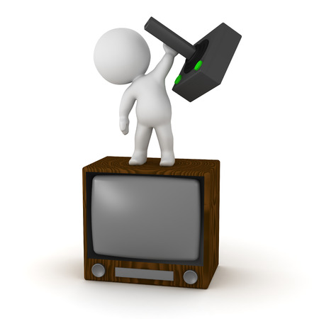 outworn: 3D character with a retro TV and a retro video game joystick. Isolated on white background.