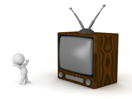 tele up: 3D character and a large retro TV. Isolated on white background.