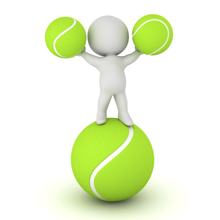 deuce: 3D character with some tennis balls. Isolated on white background. Stock Photo