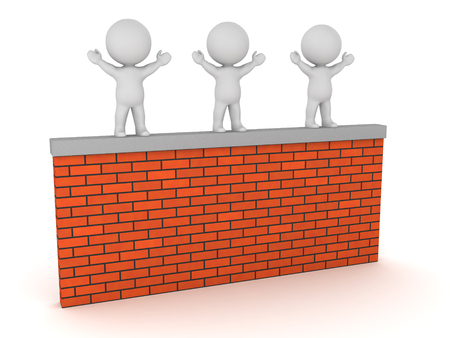 Three 3D characters standing on a brick wall. Isolated on white background.