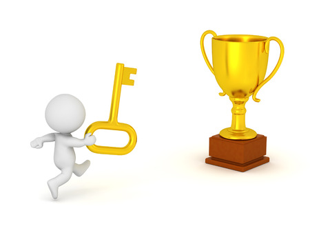 3D character with a gold key running toward a gold trophy. Isolated on white background. Stock Photo