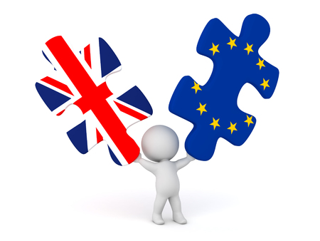 3D character holding up two puzzle pieces with UK and EU. Isolated on white background.