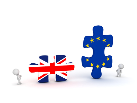 detach: Two 3D characters and large puzzles with UK and EU flags. Isolated on white background.