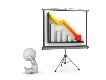 Upset 3D character and a projector screen showing a bad chart. Isolated on white background. Stock Photo
