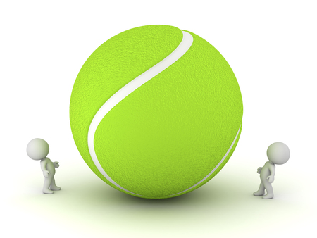 playoff: Two small 3D characters looking up at a large tennis ball. Isolated on white background.