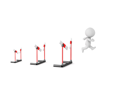 A 3D character going through three barriers. Isolated on white background.