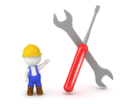 overall: 3D character wearing overalls and hard hat showing a large wrench and a large screwdriver. Isolated on white backund.