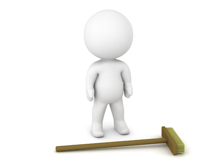 sweeper: A 3D character and a broom. Isolated on white background. Stock Photo