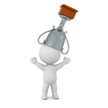 A 3D character with a silver trophy on his head. Isolated on white background.
