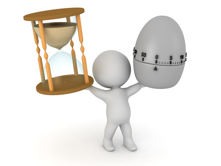 duration: A 3D character holding up an hourglass and an egg timer. Isolated on white background.