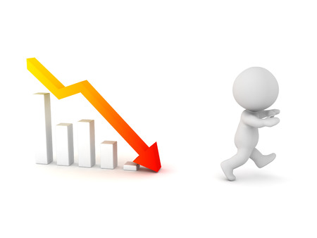 A 3D character running away from a chart with a bad forecast. Isolated on white background. Stock Photo