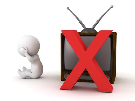 Un personnage en 3D et une télévision rétro avec un x. Isolé sur fond blanc Banque d'images - 71642254