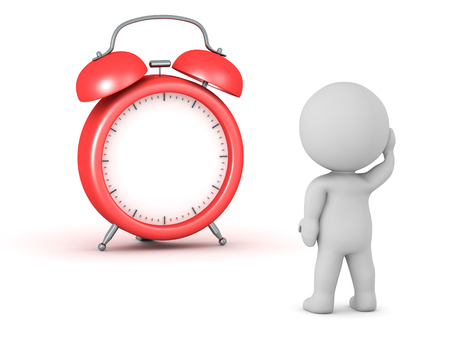 時間や針のない時計を見て 3 D キャラクター。白い背景上に分離。