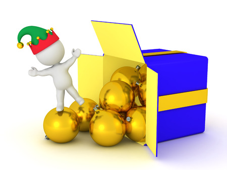 A 3D character in an elf hat and a gift box with decorative globes. Isolated on white background.