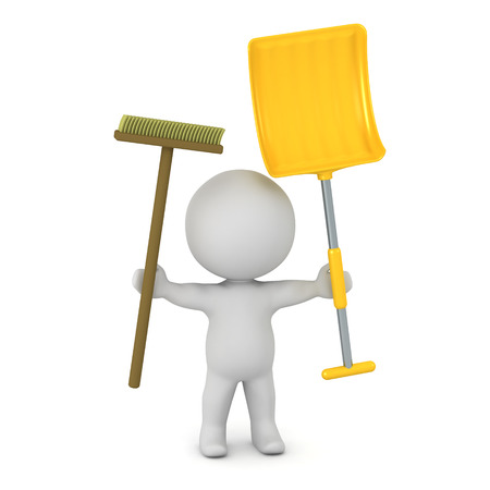 blue collar: A 3D character holding a broom and a snow shovel. Isolated on white background. Stock Photo