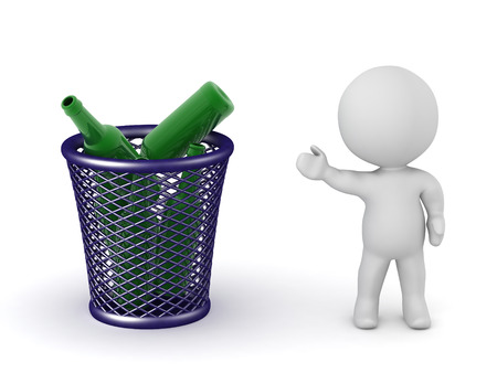 A 3D character showing a trash basket with some green glass bottles. Isolated on white background.