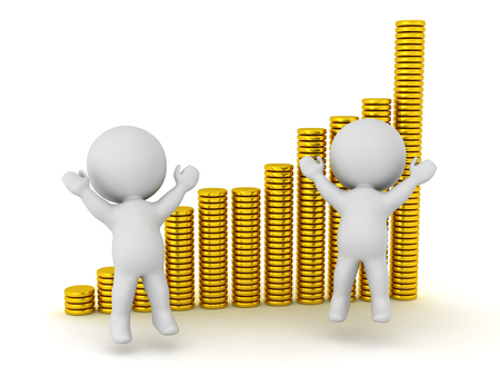Two 3D characters jumping up and some stacks of gold coins indicating profitable statistics. Isolated on white background.