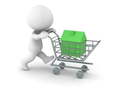 residency: A 3D character pushing a shopping cart with a small green house. Isolated on white background. Stock Photo