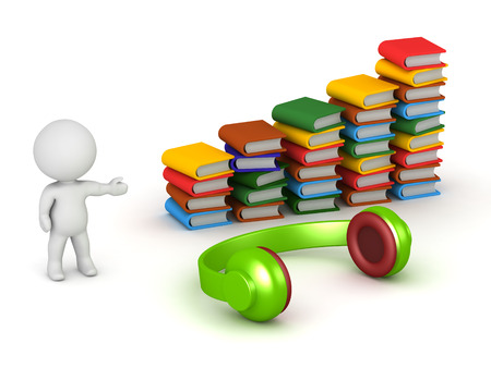 A 3D character showing colorful books and a large pair of headphones. Audiobooks concept. Isolated on white background.